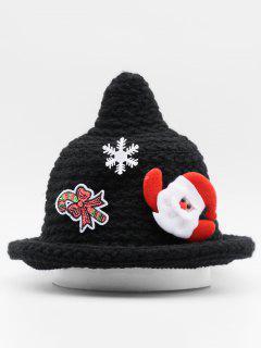 Santa Claus Cane Snowflake Knit Cap - Black