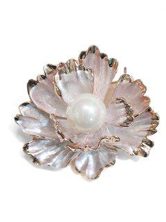 Faux Pearl Inlaid Peony Shape Brooch - Gold