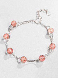 Sterling Silver Beaded Adjustable Bracelet - Pink