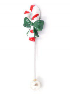 Christmas Cane Artificial Pearl Brooch - Green