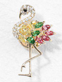 Rhinestoned Flamingo Printed Brooch - Gold