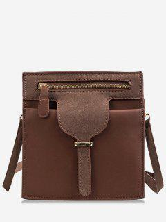Magnet Snap Suede Design Crossbody Bag - Brown