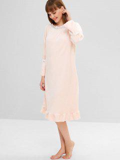 Flannel Eyelet Ruffle Pajama Dress - Light Pink L