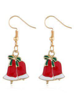 Christmas Bells Printed Hook Earrings - Gold