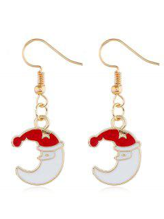 Christmas Moon Design Metal Hook Earrings - Gold