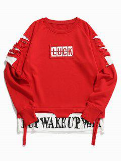 Cut Out Letter False Two Piece Sweatshirt - Red Xl