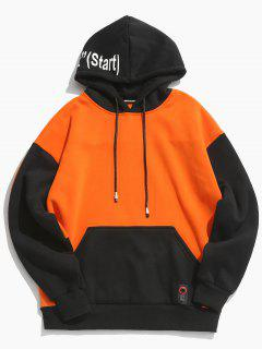Color Block Back Letter Fleece Hoodie - Orange 2xl