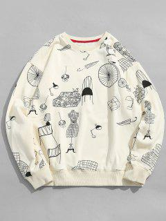 Cartoon Furniture Print Sweatshirt - White M