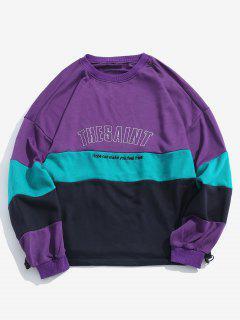 Brief Geschichtetes Farbblock-Sweatshirt - Lila Iris M
