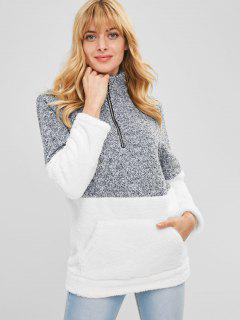 Color Block Half Zip Fluffy Teddy Sweatshirt - White M