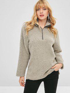 Half Zip Slit Fluffy Teddy Sweatshirt - Gray L