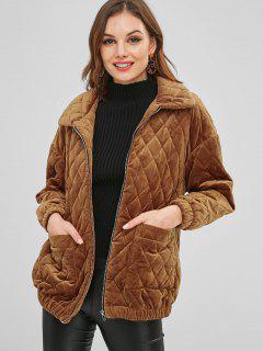Manteau En Molleton ZAFUL à Poches Zippées - Brun Légère Xl