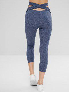 Capri Wide Waistband Cross Gym Leggings - Blue M