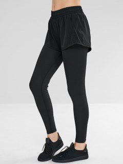 Hollow Out Overlay Leggings - Black L