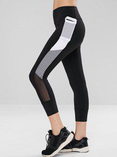 Striped Mesh Panel Workout Active Leggings - Black L