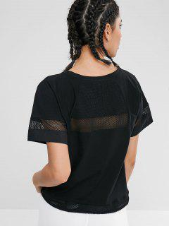 Drawstring Hem Hollow Out T-shirt - Black M