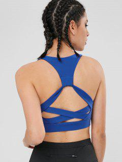 Active Cross Cut Out Padded Yoga Bra - Blue M