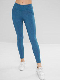 Active Wide Waistband Workout Leggings - Blue L
