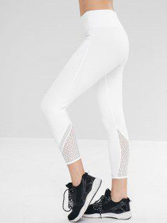 Lace Panel Ninth Yoga Gym Leggings - White L