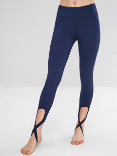 Cross Hem Sport Gym Leggings - Blue L