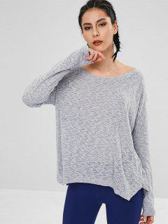 Drop Shoulder Slit Loose T-shirt - Gray M