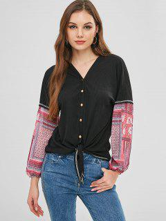 Printed Button Up Tie Front Cardigan - Black M