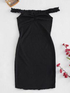 Ruched Ribbed Off The Shoulder Dress - Black M
