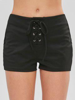 Casual Lace-up Shorts - Black Xl