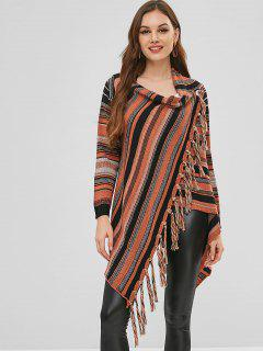 Buttoned Tassels Stripes Cardigan - Multi L