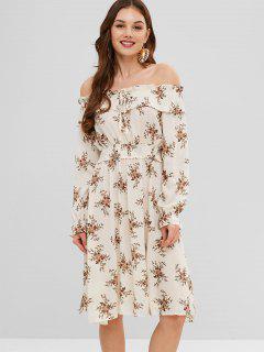 Robe Mi-Longue Fleurie à Epaule Dénudée à Manches Longues - Blanc Chaud L