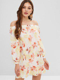 Floral Tie Long Sleeve Off The Shoulder Dress - Multi-a M
