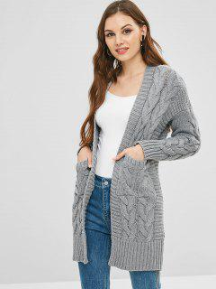 Pockets Open Front Cable Knit Cardigan - Battleship Gray