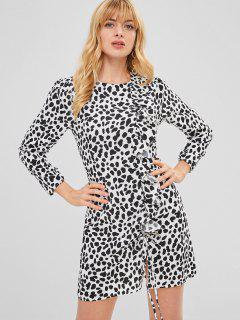 Mini Vestido Con Volantes De Leopardo - Leopardo M