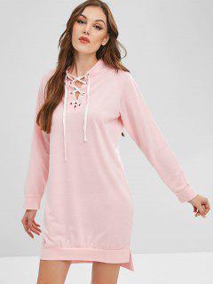 Robe Fendue à Lacets - Rose Léger  S