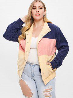 Corduroy Color Block Plus Size Jacket - Multi-a 1x