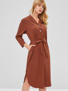 Lapel Half Buttoned Belted Casual Dress - Chestnut