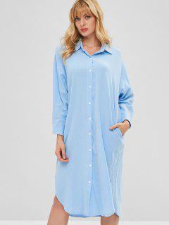 Robe Chemise Mi-longue Fendue - Bleu De Ciel  M