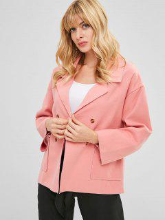 Double Breasted Lapel Wool Blend Coat - Flamingo Pink L