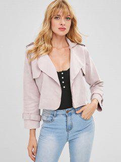 Lapel Cropped Faux Suede Jacket - Sakura Pink M