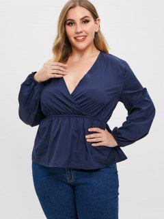 Plus Size Surplice Blouse - Midnight Blue L