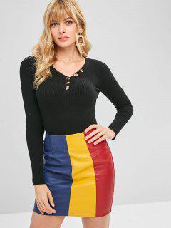 Suéter Acanalado Con Cuello En V Medio Botón - Negro