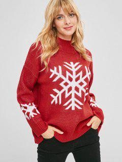 High Neck Snowflake Christmas Sweater - Red