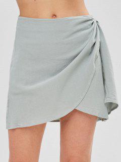 Zip Fly Short Wrap Skirt - Baby Blue S