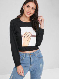 Boxy Hand Print Sweatshirt - Black M