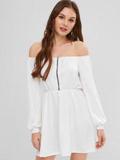 Half-zip Off The Shoulder Dress - White S