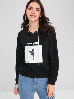 Pullover Cat Pattern Hoodie - Black M