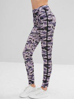 Drawstring Waist Camouflage Leggings - Multi L