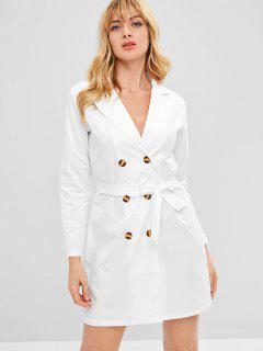 Double Breasted Belted Long Sleeve Dress - Milk White M