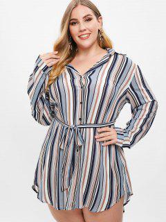 Striped Plus Size Shirt Dress - Multi-a 1x