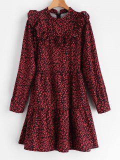 Print Flounce Smock Dress - Firebrick M